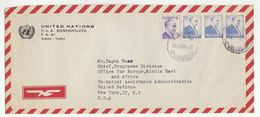 1956 UN In TURKEY Airmail COVER To UN PROGRAMME DIV CHIEF NY USA United Nations Stamps - 1921-... Republic