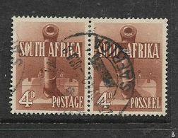 S.Africa 1941, War Effort, 4d Orange-brown Horizontal Pair,c.d.s. Used - Zuid-Afrika (...-1961)