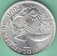 SAN MARINO 1991  OLIMPIADI BARCELLONA  L. 500 Argento FDC - Saint-Marin