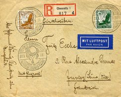 37282 Germany Reich,circuled Cover 1937 Gordon Bennet Fahrt From Chemnitz To France,registered,gas Balloon Race - Briefe U. Dokumente