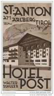 St. Anton Am Arlberg Tirol 20er Jahre - Hotel Post Besitzer Walter Schuler - Faltblatt Mit 13 Abbildungen - Oesterreich