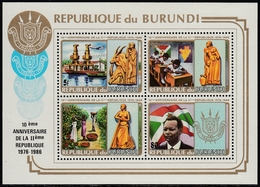 Burundi 1986 - UNISSUED Stamps: 10th Anniversary Of The 2. Republic - Miniature Sheet Mi Block 1 A (I-IV) ** MNH - Burundi