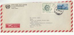 1957 UN In TURKEY Airmail COVER To UN TECHNICAL ASSISTANCE CHIEF NY USA United Nations Stamp Aviation Art Academy - 1921-... Republic
