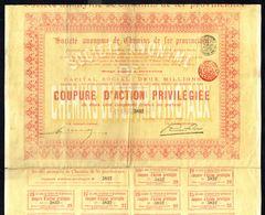 SOCIETE ANONYME DE CHEMINS DE FER PROVINCIAUX  - Coupure D'action Privilègiée De 250,- Frs Au Porteur - 1909. - Asie