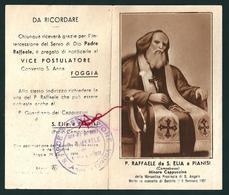 P. RAFFAELE DA S. ELIA A PIANISI -  CON RELIQUIA - Mm. 61 X 105 - M - A - Godsdienst & Esoterisme