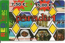 CARTE-PREPAYEE-7.5€+5€-RED TELECOM-PARADIS1-V°Cadres Gris Avec 2N° Telep/ Pt N°Lasers-Gras/31/12/2012-TBE- - Autres Prépayées
