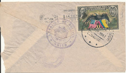 Ecuador Air Mail Cover Sent To Peru 1947 Single Franked On The Backside Of The Cover (the Cover Is Damaged In The Left - Bolivia