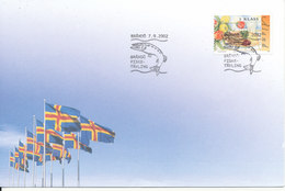 Aland Cover With Special Postmark Brändö 7-9-2002 Fishing - Aland