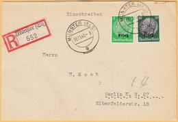 GO Of France Alsace 1940. 5+50Pf Hindenburg Overprinted Elsas Stamps On Registered Cover Münster To Berlin - Occupation 1938-45