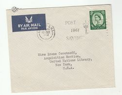 1961 GB COVER To UNITED NATIONS NY USA Airmail Un 1/3 Stamp - UNO