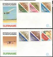 2 FDC Concorde Suriname Spin Fokker F28 F7 DC-10 B747 Degena - Suriname