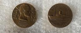 Trés Rare - Medaille Bronze Paquebot PASTEUR - Compagnie De Navigation Sud Atlantique 1939 Signée F. BAZIN - France