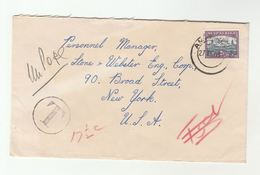 SOUTH AFRICA Stamps COVER To USA  'T ' 17 1/2c Underpaid Post Due Postage Due - South Africa (...-1961)