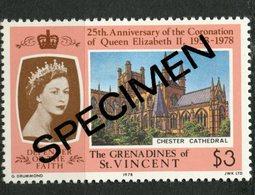 St. Vincent & Grenadines 1978 $3.00 Coronation Issue #156  MNH Specimen Overprint - St.Vincent & Grenadines