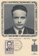 Carte  Maximum  1er Jour    HEROS  DE  LA  RESISTANCE    Jean   CAVAILLES    SAINT  MAIXENT   L' ECOLE   1958 - 1950-59