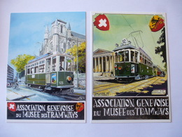 GENEVE ( SUISSE) : 2 CPM Illustrée De L'Association Genevoises Du Musée Du Tramway - Voir Les 2 Scans - Tramways