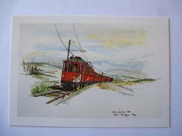 SUISSE : CHEMIN De FER NYON - ST-CERGUE - MOREZ ( N.St.C.M.) CPM Illustré D'une Motrice Ancienne - Voir Les 2 Scans - Trains