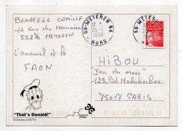 1999--Beau Cachet Rond  METEREN  GA --59  Nord --sur Cpm  --DISNEY  --  That's Donald - Marcophilie (Lettres)