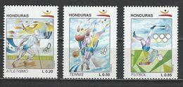 Honduras. Scott # 374-76 MNH. Olympic Games (ERROR # 376 With Invert Center ?) 1992 - Honduras