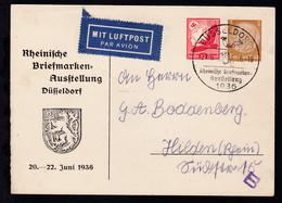 Rheinische Briefmarken-Ausstellung Düsseldorf 1936 Mit Sonderstempel  - Allemagne