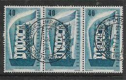 Germany, 1956, Europa 40pf, Strip Of 3 Used, DUSSELDORF HBHF 9.7.57 Cds - [7] Federal Republic