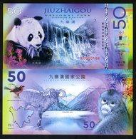 China, Jiuzhaigou National Park, 50 Yuan, Polymer, 2018 - Panda, Monkey - Bankbiljetten