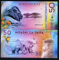 Tanzania, Serengeti National Park, 50 Shillings, Polymer, 2018 - Lion, Rhino - Bankbiljetten