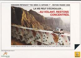 """PUB RENAULT 2008--concours RENAULT """" Tes Idés à L'affiche """"--au Volant, Restons Concentrés--voir 2 Scans - Cartes Postales"""