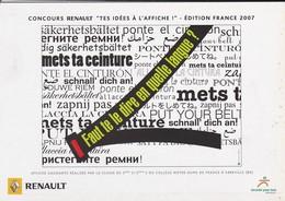 """PUB RENAULT 2007-concours RENAULT """" Tes Idés à L'affiche """"-faut Te Le Dire En Quelle Langue ?---voir 2 Scans - Cartes Postales"""