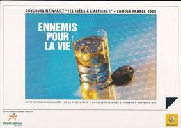 """PUB RENAULT 2008---concours RENAULT """" Tes Idés à L'affiche """"--ennemis Pour La Vie--voir 2 Scans - Cartes Postales"""