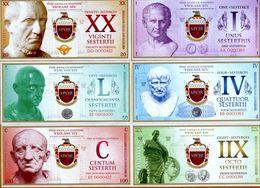 Roman Empire Set, 1;4;8;20;50;100 Sesterces, 2018, UNC - Bankbiljetten