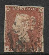 Great Britain, 1841, 1d, Red, Imperforate, Ivory Head  3 1/2 Margins, Used, Black Maltese Cross - Gebraucht