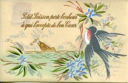 Fantaisie Poisson D'avril Peinte à La Main  Carte Céluloid - Cartes Postales