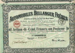92-AUTOMOBILES BELLANGER FRERES. 1918. NEUILLY / SEINE. Capital De 1,5 MF - Other