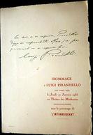 PIRANDELLO PROGRAMME DE THEATRE EN HOMMAGE A LUIGI PIRANDELLO AUTOGRAPHE FAC SIMILE  1935  PITOEFF CHARLES DULLIN - Programma's