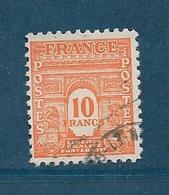 France Timbre De 1944 N°629 10f Arc De Triomphe Oblitéré Cote 27,50€ - Oblitérés