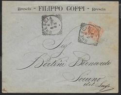 STORIA POSTALE REGNO - ANNULLO TONDO RIQUADRATO BRESCIA 06.05.1898 SU BUSTA INTESTATA PER SOIANO DEL LAGO - 1878-00 Umberto I