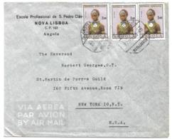 ANGOLA (Portugal) 1963 Commercial Airmail Cover - 2e Girl Of Angola (3) - Nova Lisboa To USA - Angola