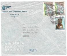 ANGOLA (Portugal) 1962 Commercial Airmail Cover - Map (2) & 5e Angola Girl - Angola