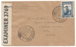 ANGOLA (Portugal) VILA LUZO 1943 Cvr Via Elisabethville To England - Great Britain Censor - 1.75 Da Gama Franking - Angola