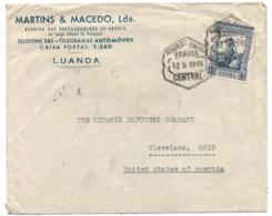 ANGOLA (Portugal) 1945 Advertising Cover - Car Batteries And Tires - 1.75 Vasco Da Gama Franking To USA - Angola