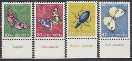SCHWEIZ 633-636, Postfrisch **, Unterrand, Mit Tiername Deutsch, Pro Juventute 1956, Insekten - Pro Juventute