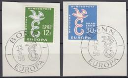 SAARLAND 439-440,, Gestempelt Auf Briefstück Mit SoSt ESST, Europa CEPT 1958, Taube über E - Europa-CEPT