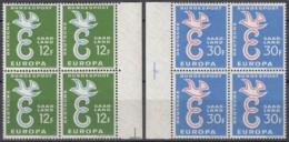 SAARLAND 439-440, 4erBlock, Postfrisch **, Europa CEPT 1958, Taube über E - Europa-CEPT