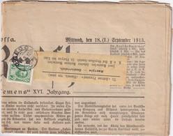RUSSIE 1913  JOURNAL ALLEMAND DE ODESSA - 1857-1916 Empire