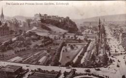 The Castle And Princes Street Gardens, Edinburgh, Scotland - Vintage PC Unused - Midlothian/ Edinburgh