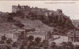 Edinburgh Castle And National Gallery, Scotland - Vintage PC Unused - Midlothian/ Edinburgh