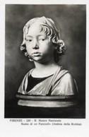 Firenze - Cartolina BUSTO FANCIULLO, ANDREA DELLA ROBBIA, Ugo Magnaini (marcata 330, Ed Traldi) R. Museo N. - P72 - Sculture