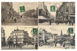 80 AMIENS Lot De 4 CPA 1900 Animées Quartier Saint Leu - Rue Des Trois Cailloux - Place Gambetta - Rue Jules Barni - Amiens