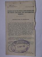 GB WW2 Mobilization Form D.463 - Sidcup Kent Cachet 4/9/1939 - 2 Scans - Historical Documents